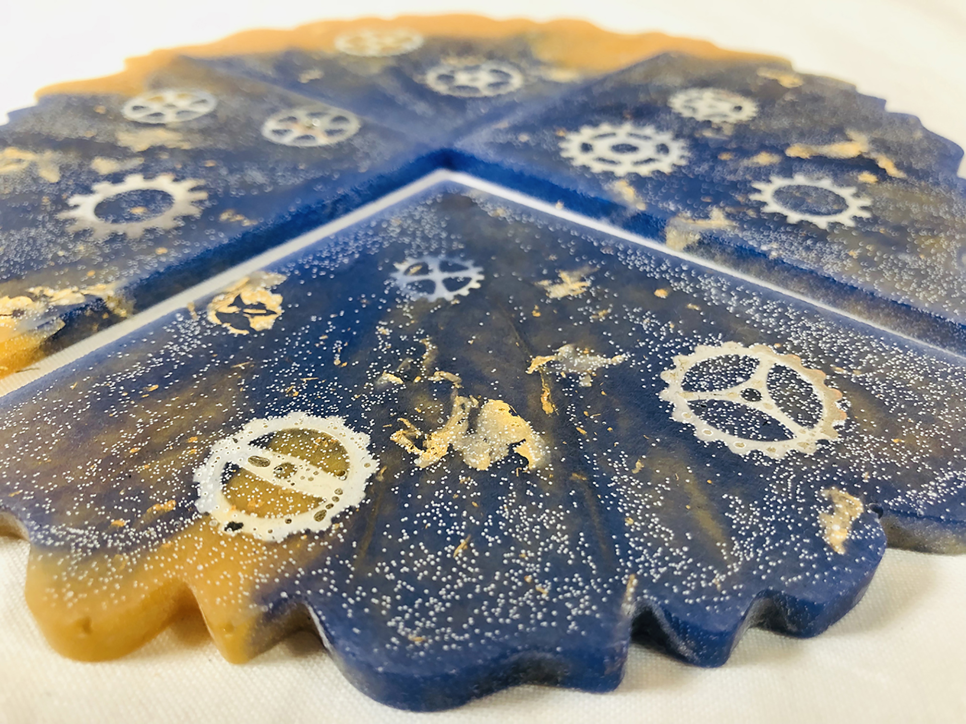 Steampunk Square Footed Acrylic Resin Coasters